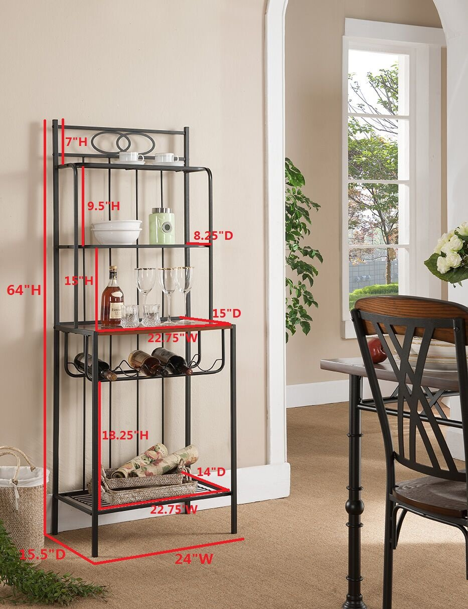 Amazon.com   Kings Brand Furniture Metal With Wood Bakers Rack With Wine  Storage   Standing Bakeru0027s Racks