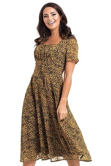 b7e9fd21fc4b VOODOO VIXEN Womens Vivienne Leopard Print Floaty Dress: Amazon.co.uk:  Clothing