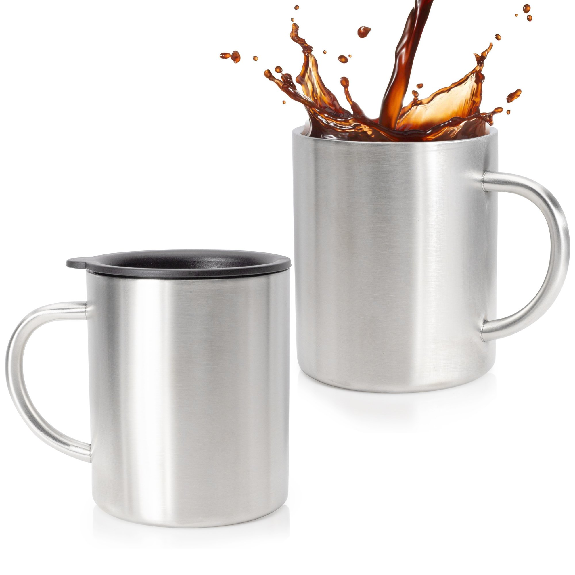 Stainless Steel Coffee Mug Set Of 2 - Double Wall Insulated Coffee Mug With Lid - 14 Oz Stainless Steel Coffee Cups - Perfect For Hot & Cold Drinks