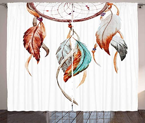 Ambesonne Feather Curtains, Watercolor Dream Catcher Inspirations Traditional, Living Room Bedroom Window Drapes 2 Panel Set, 108 X 108 , Sienna Seafoam