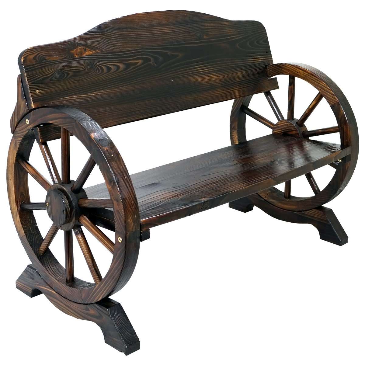 Elegant Solid Wood Cart Wagon Wheel Garden Bench Patio Burnt Stained Outdoor  Furniture