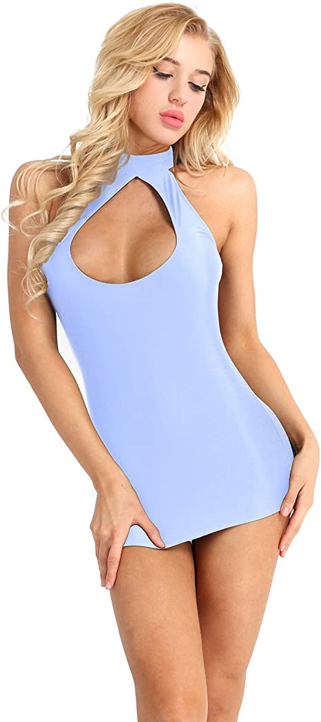 TiaoBug Damen Unterkleid Unterrock Basic Kleider schulterfrei Tr/ägerlos Etuikleid enges Kleid kurz transparentes Minikleid Nachthemd Reizw/äsche