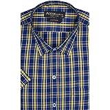 ACCOX Half Sleeve Regular Fit Check Print Cotton Formal Shirt for Man