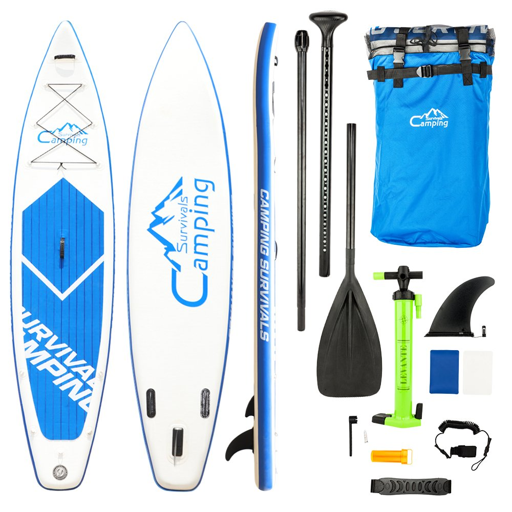 lanma08 KS-SP1009 12' Adult Inflatable SUP Stand Up Paddle Board White & Blue