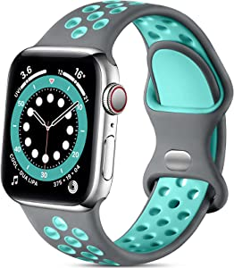 Lerobo Sport Bands Compatible with Apple Watch Band 40mm 38mm iWatch Series 6 5 4 3 2 1 SE for Women Men, Soft Durable Silicone Sport Breathable with Air Holes Replacement Wristband, Gray/Teal, M/L