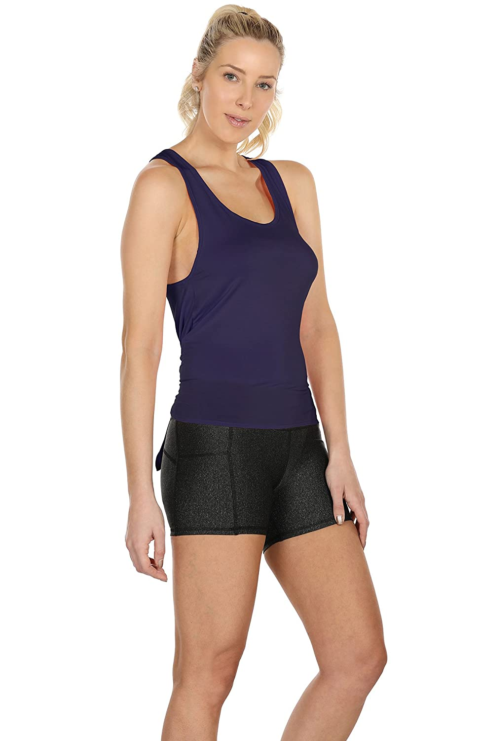 Athletic Activewear Shirts Exercise Yoga Tank Tops icyzone Open Back Workout Tops for Women