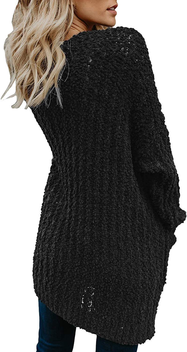 Elapsy Womens Casual Open Front Long Sleeve Knitted Sweater Cardigans Pockets