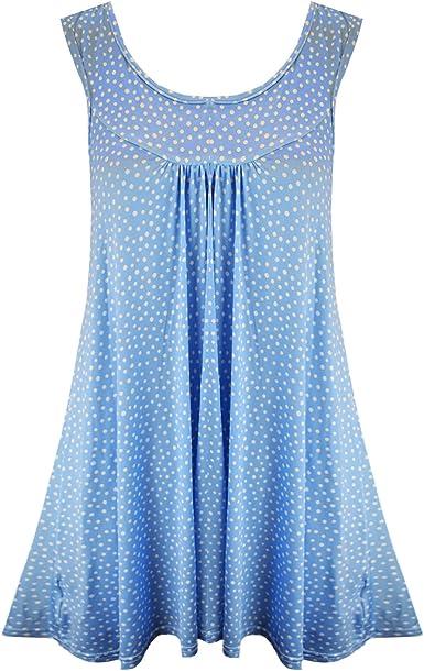 Vanilla Inc - Camisas - Manga Corta - para Mujer Sky Blue with White Dots Talla 52-54: Amazon.es: Ropa y accesorios
