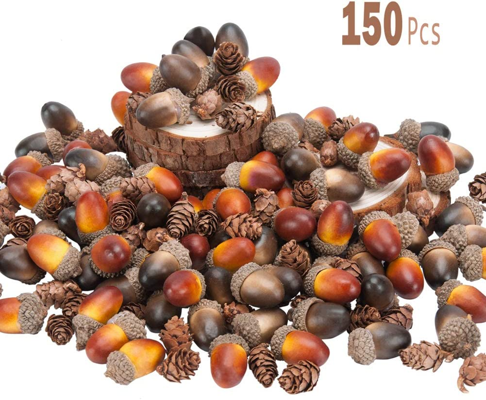 "Toopify 100 Pcs Artificial Acorns with 50 Pcs Fake Mini Pinecones for DIY Craft, Fall Thanksgiving Home Outdoor Decor (2 Color,1.4"" X 0.8"")"