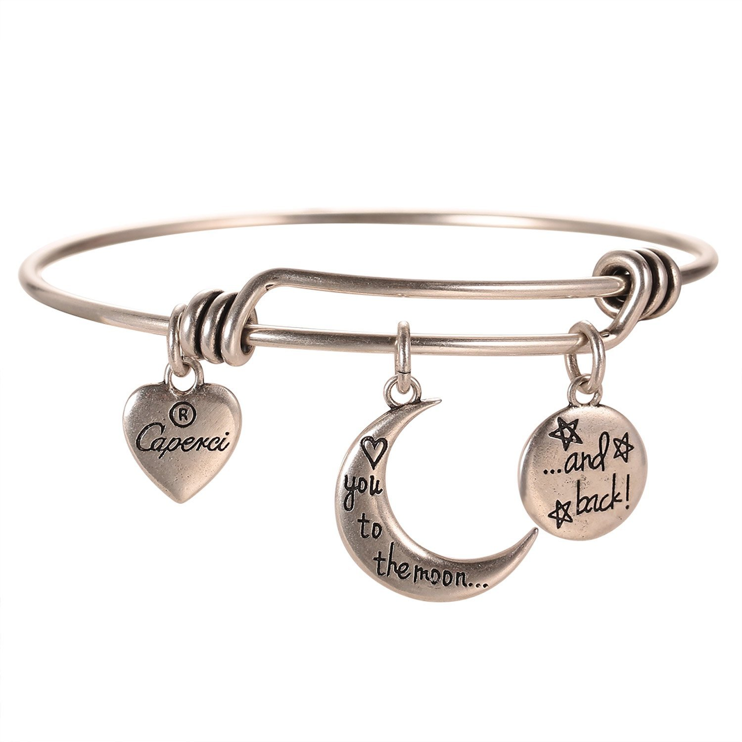Caperci Silver Love You to The Moon and Back Charm Expandable Wire Bangle Bracelet for Women by Caperci (Image #2)