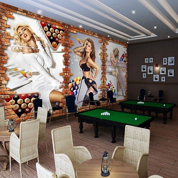 Papel tapiz fotográfico Billar 3D sala de billar belleza sexy ...