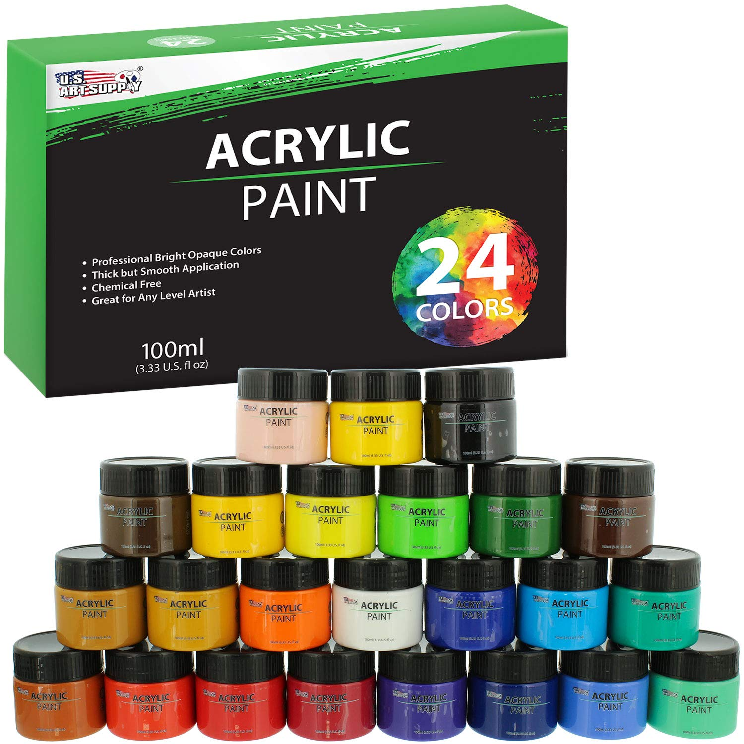 U.S. Art Supply 24 Color Acrylic Paint Jar Set 100ml Jars (3.33 fl oz) - Professional Artist Bright and Vivid Opaque Colors giving you the full range of color spectrum in one set by US Art Supply
