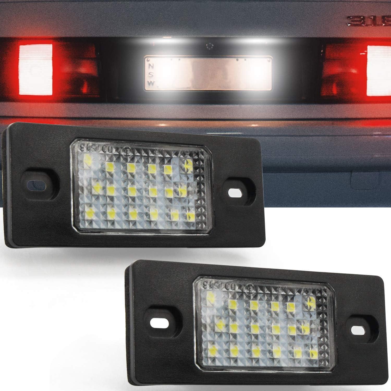 Lot de 2 YuanGu LED /Éclairage plaque immatriculation,LED Lampe de plaque dimmatriculation Lampe avec CANBUS Erreur gratuite Imperm/éable 6000K Xenon Blanc pour B-M-W X5 E53 X3 E83 03-10