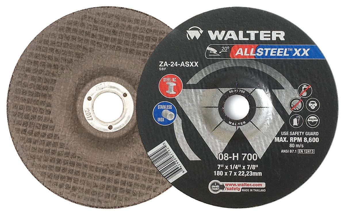 7 in Aluminum Oxide Abrasive Wheel Pack of 10 Surface Finishing Wheels A-24-AXX Grit Walter 08H707 ALLSTEEL XX Exceptional Grinding Wheel -