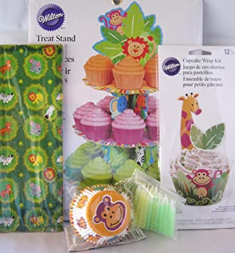 Jungle Pals Animal Theme Party Supplies - Birthday or Baby Shower - Treat Stand, Baking