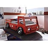 AVANTI TRENDSTORE - Letto camion da pompiere con illuminazione LED compresa, ca. 108x91x225cm