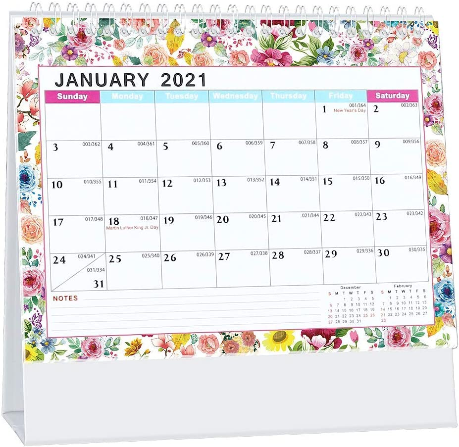 "Whiidoom Desk Calendar 2021, Standing Flip Office Desktop Calendar 13 Monthly 2020-2021 8"" x 6"" Use from December 2020 to December 2021 Perfect for Daily Schedule Planner"