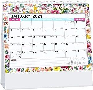 "Whiidoom Desk Calendar 2021, Standing Flip Office Desktop Calendar 13 Monthly 2020-2021 8"" x 6"" Use from December 2020 to December 2021 Perfect for Daily Schedule Planner"
