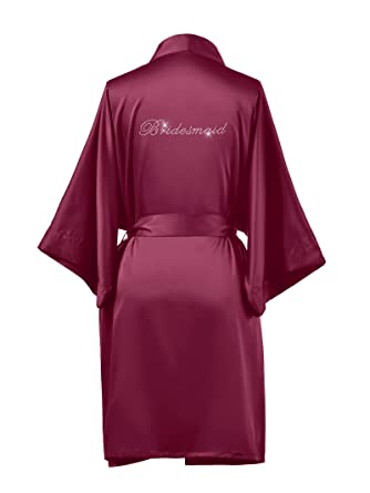 9fa158a7bee AWEI Satin Bridesmaid Robes Short Bridal Robes for Bridesmaid Gifts Soft  Womens Kimono Robe Burgundy XS