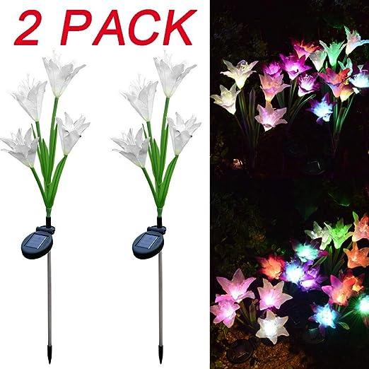 Solar Garden Lights Outdoor 2 Pcs Lily Flower Solar Powered