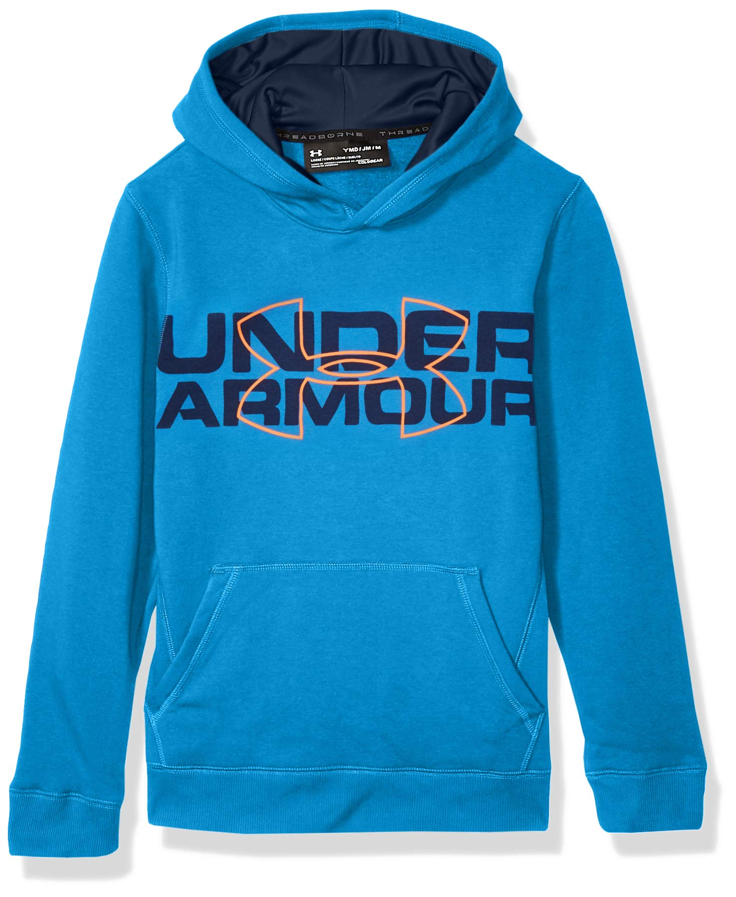 Under Armour Boys' Threadborne Logo Hoodie, Mako Blue /Magma Orange, Youth Medium by Under Armour