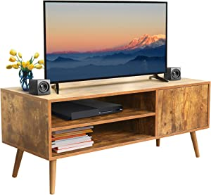 KD ModySimble TV Stand with Storage for TV up to 43 inch, Retro TV Table for Media Cable Box Gaming Consoles Wood Mid Century Modern TV Stand & Entertainment Center for Living Room Bedroom