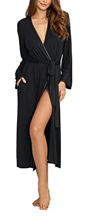 6ef3622c228 Dreamgirl Women s Long Black Soft Jersey Robe with Pockets and Satin Trim -  Small