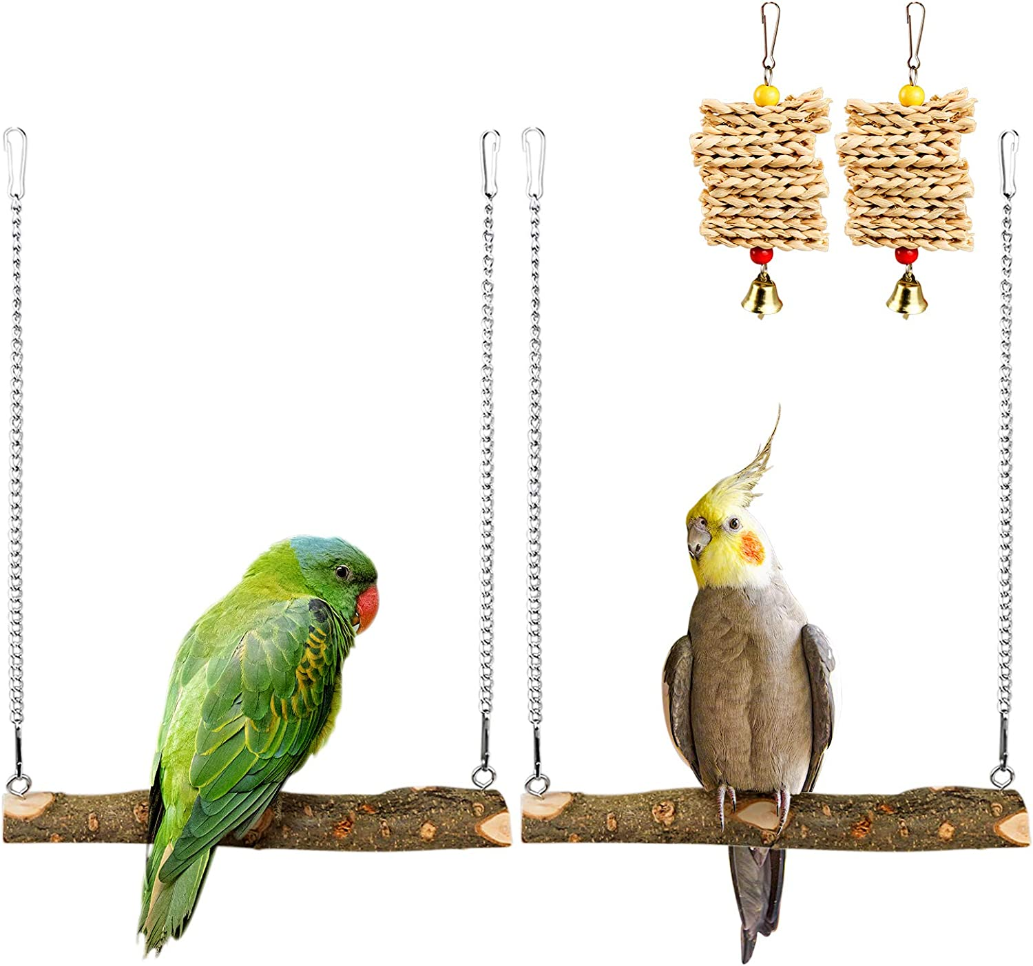 Roundler Pet Bird Swing, Parrot Cage Toys, Natural Wooden Swing Toys for Parakeet Cockatoo Cockatiel Conure Lovebirds Canaries Little Macaw African Parrot …