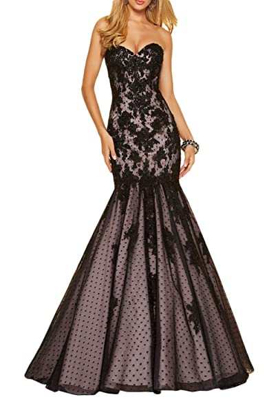 Datangep Womens Beaded Black Lace Mermaid Applique Long Evening Dress Prom Gown US2