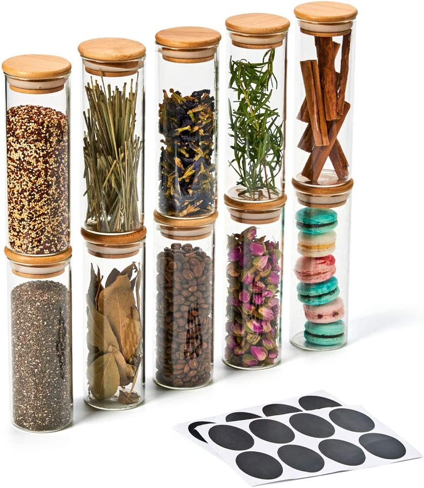 EZOWare 10 Piece Clear Glass Jar Set, Small Air Tight Canister Storage Containers with Natural Bamboo Lids and Chalkboard Labels for Kitchen, Bathroom, Home Decor, Party Favors (300ML)