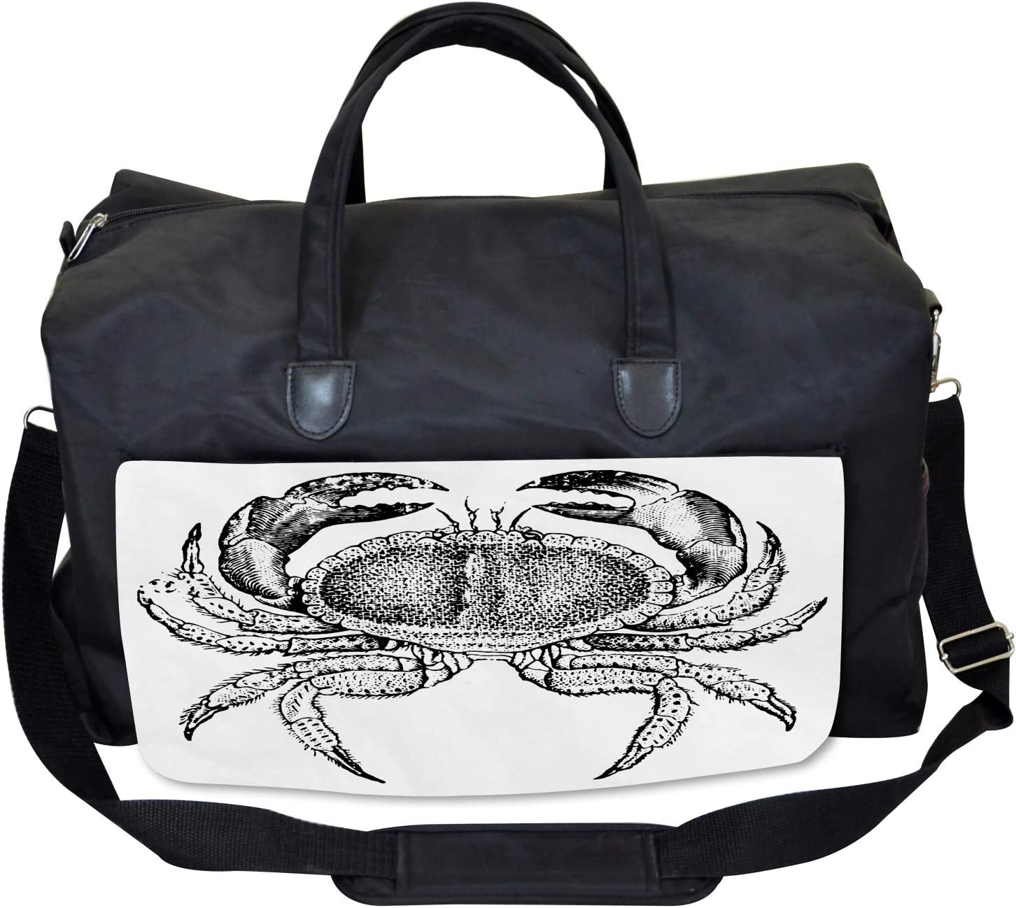 Seafood Theme Design Large Weekender Carry-on Ambesonne Vintage Gym Bag