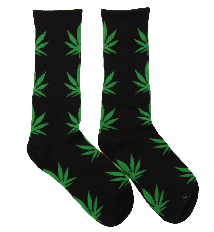 Spring Fever Unisex Marijuana Weed Leaf Printed Crew Socks A Black/Green One Pair