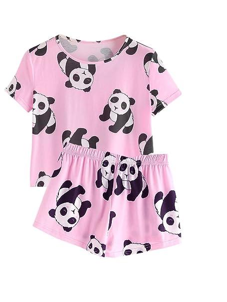 08d4ba6c599d DIDK Women s Cute Cartoon Print Ice Tee And Shorts Pajama Set Pink Panda XS