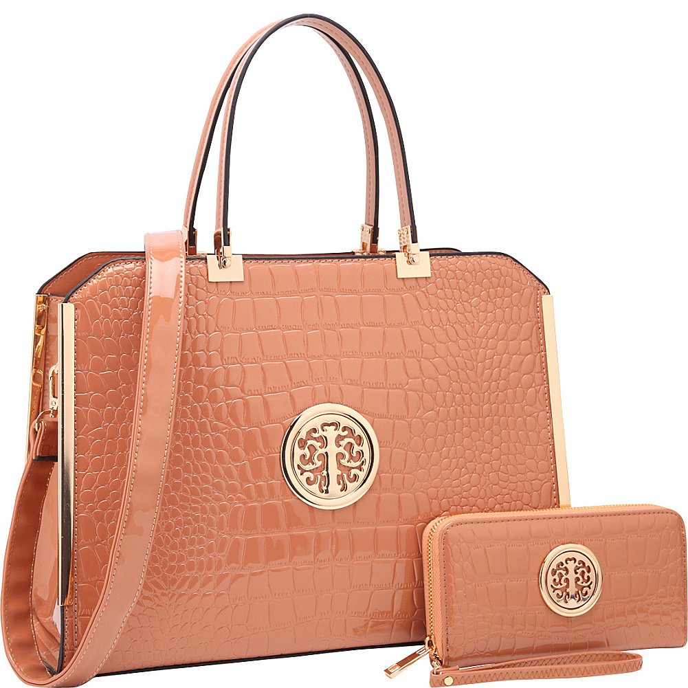 5ffd3aa85cf6 Amazon.com: Dasein Rolled Handle Croco Leather Satchel with Matching Wallet  (Beige): Shoes