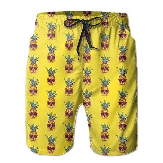 ad1d80ee44 BANGBIG Mens Pineapple Skull Pattern Summer Breathable Quick-drying Swim  Trunks Beach Shorts Board Shorts | Amazon.com
