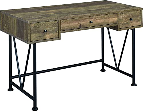 Coaster Home Furnishings Analiese 3-drawer Writing Desk Rustic Oak and Black Review