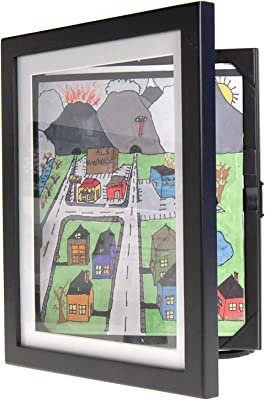 "Child Artwork Frame - Display Cabinet Frames And Stores Your Child's Masterpieces - 8.5"" x 11"" (Black)"