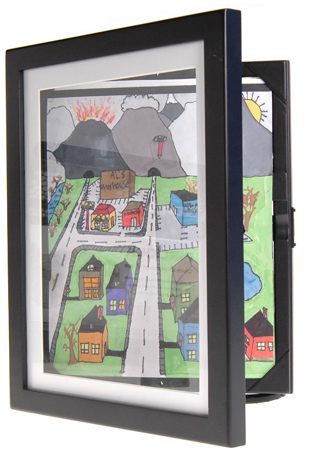 Child Artwork Frame - Display Cabinet Frames And Stores Your Child's Masterpieces - 8.5 x 11 (Black) Lil Davinci DV9x12