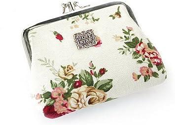 YUANSHAN White Unicorn Unisex Canvas Coin Purse Change Cash Bag Zipper Small Purse Wallets with Handle