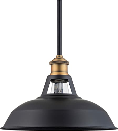 Olivera 10.5 inch Pendant Light Black w Antique Brass Pendant Lighting for Kitchen Island with LED Bulb LL-P833-7SBK