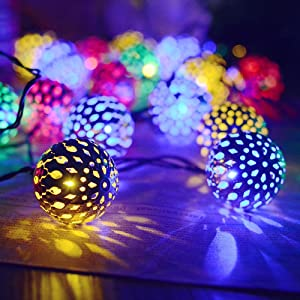 Solar String Lights Moroccan Ball 15ft 20LED Globe Fairy String Lights Solar Powered Orb Lantern Christmas Lighting for Outdoor Garden, Yard, Patio, Xmas Tree, Party, Home Decoration (Multicolor)