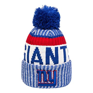 b8b28008cd0 New Era - New York Giants - Sideline Sport Knit - NFL Bobble Hat   Amazon.co.uk  Clothing