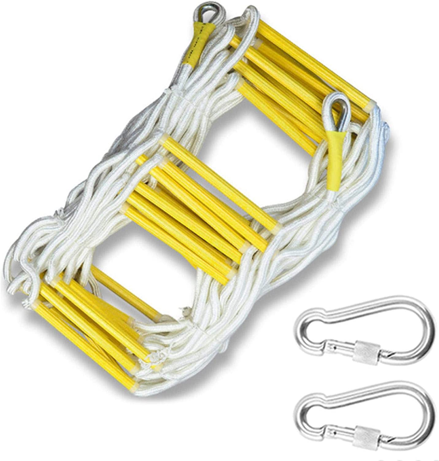 32 Ft Aoneky Fire Escape Rope Ladder 2-3 Story Fire Rescue Ladder Flame Resistant Emergency Fire Safety Evacuation Ladder with Hook Carabins for Kids and Adults