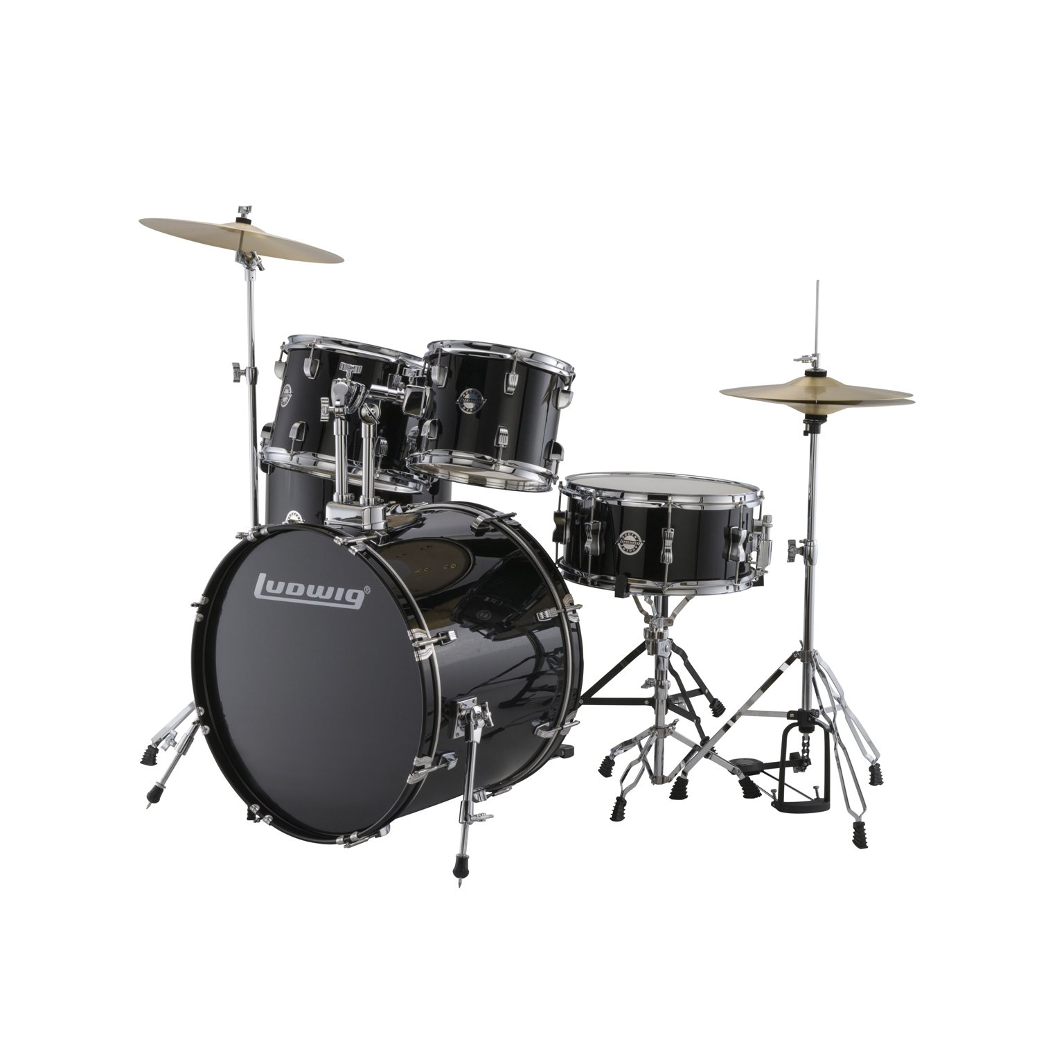 amazon com ludwig accent drive black 5 piece drum set includes