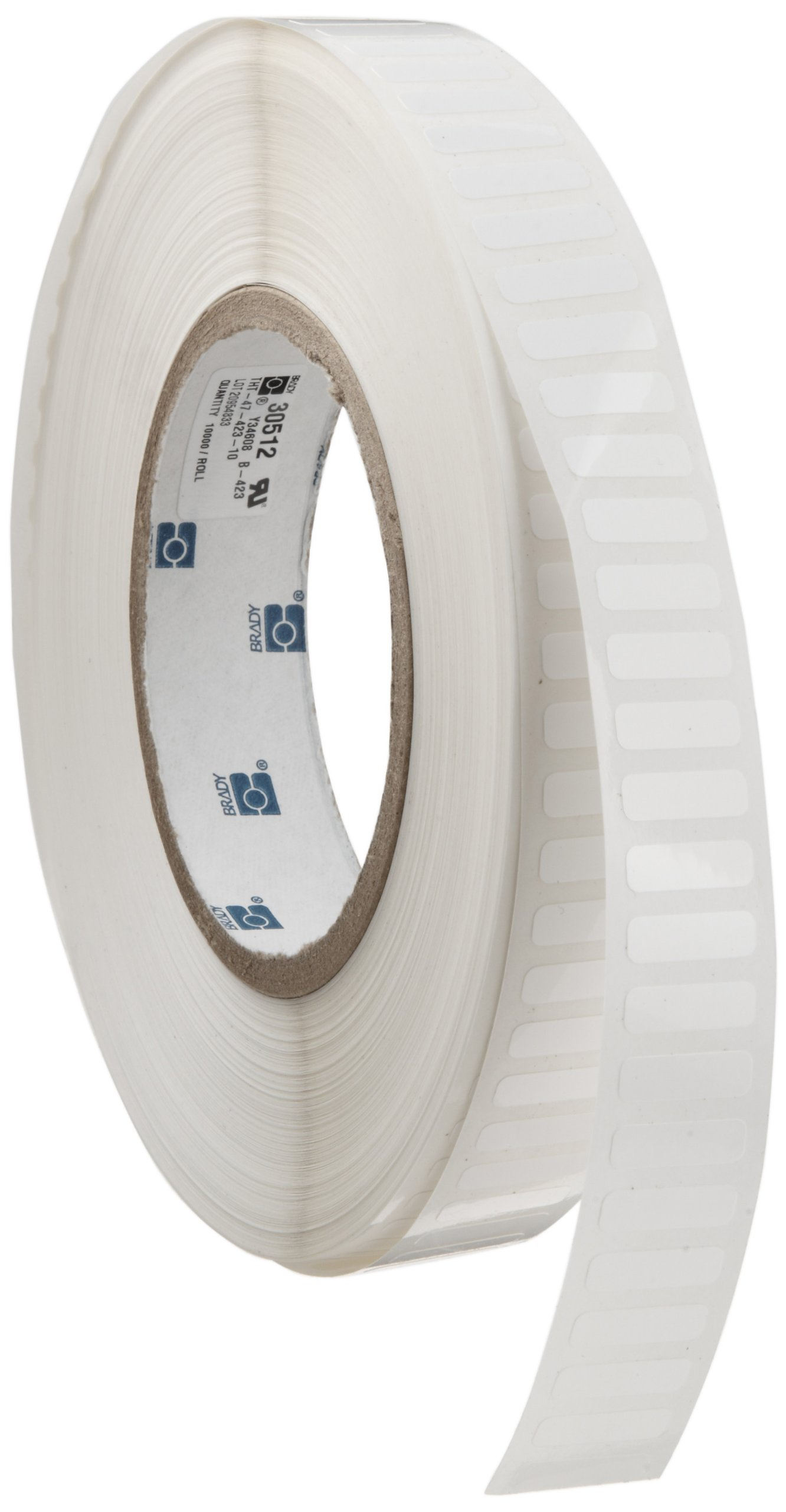Brady THT-47-423-10 0.65'' Width x 0.2'' Height, B-423 Permanent Polyester, Gloss Finish White Thermal Transfer Printable Label (10000 per Roll) by Brady