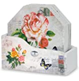 Decorative Drink Coasters with Holder - Set of 6 - Assorted Butterfly and Rose Designs - Each Coaster is Printed with a Unique European Vintage Post Card Theme