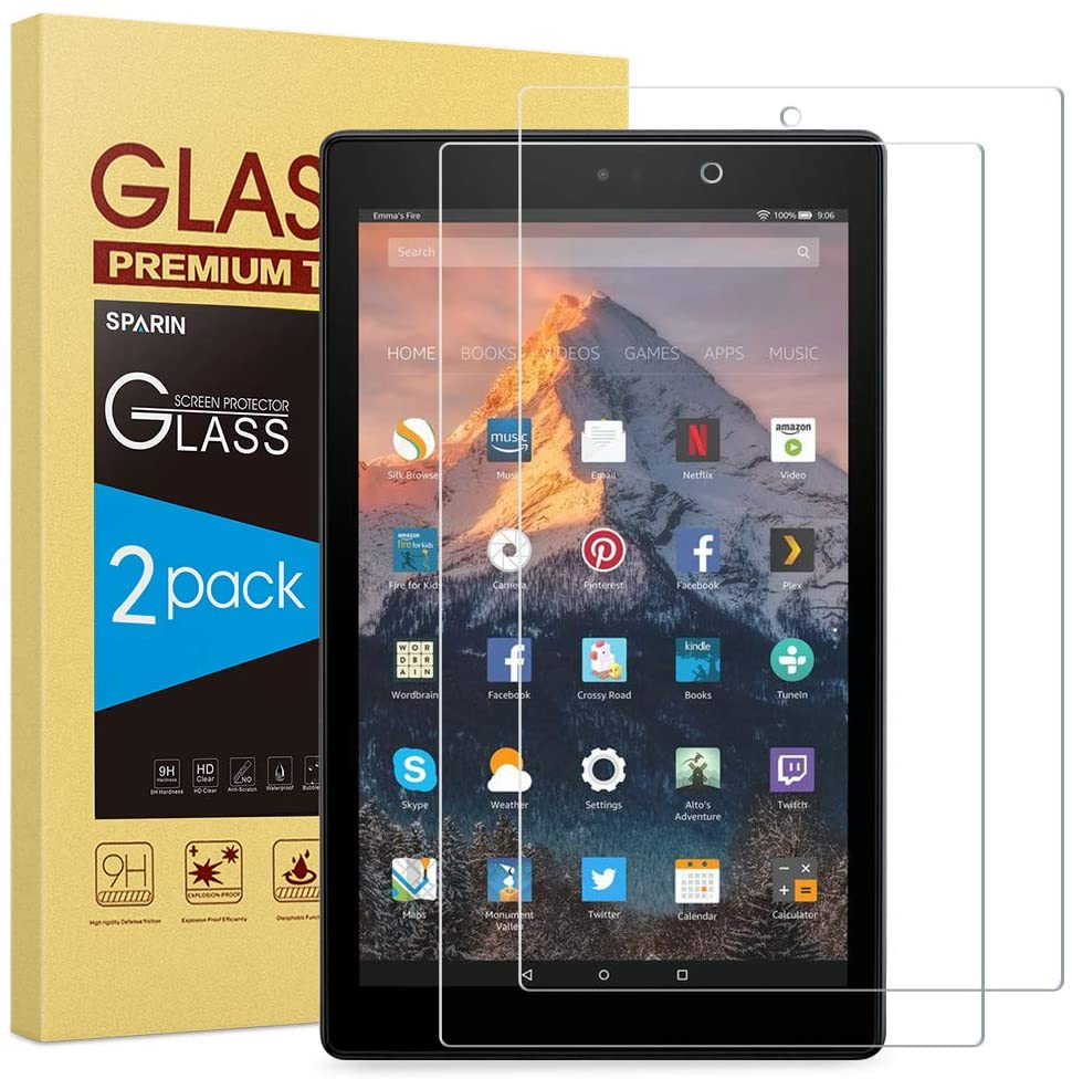 [2-Pack] SPARIN Tempered Glass Screen Protector Compatible with Fire HD 10 (9th / 7th, 2019/2017 Released) and Fire HD 10 Kids Edition (2019/2018 Released)