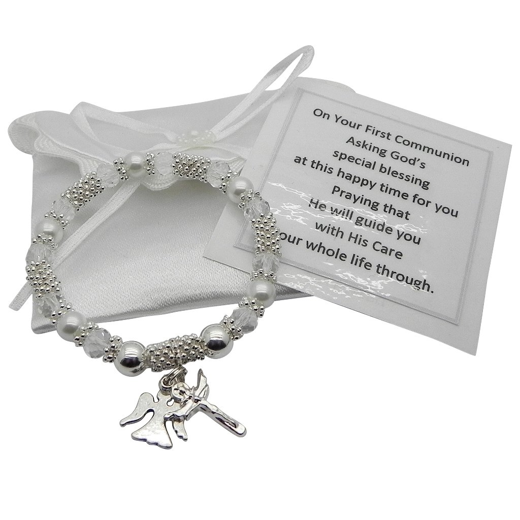 Girls First Holy Communion Bracelet with Angel & Crucifix FHC-STB-ANGELX