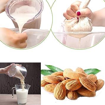LERORO - 5 bolsas de calidad profesional para mantel de queso, colador de leche de nueces, bolsa de preparación fría, reutilizable para yogur/café/té/zumo/vino, bolsas de malla para alimentos (grande): Amazon.es: Hogar