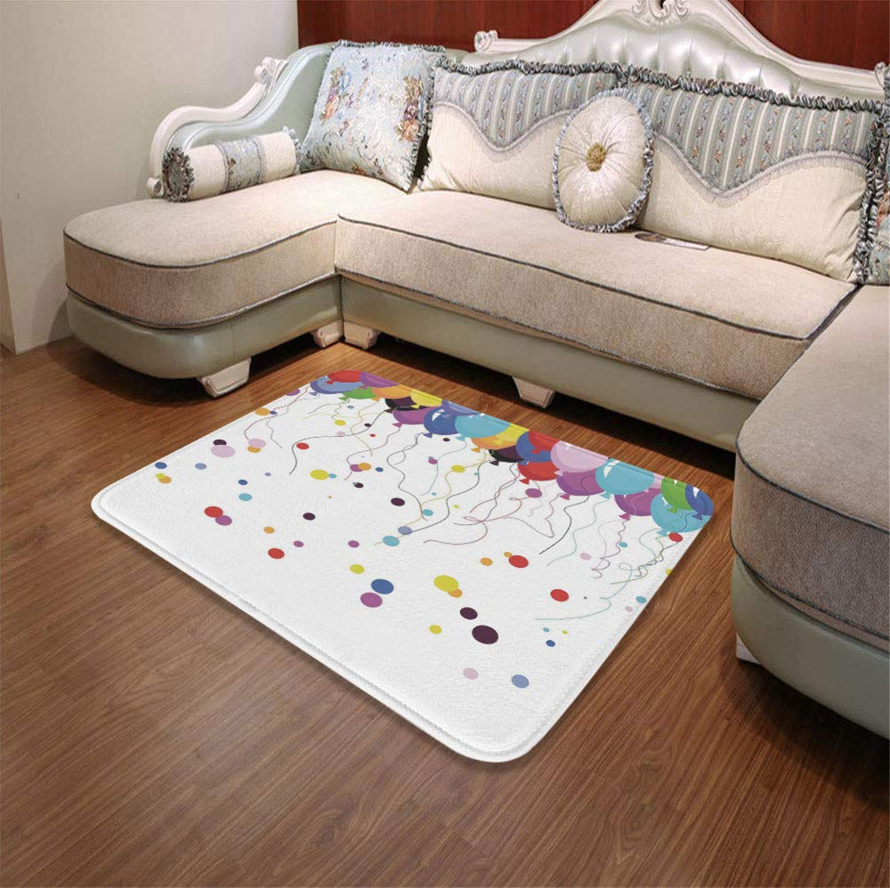 YOLIYANA Modern Carpet,Abstract,for Living Room Bathroom,55.12'' x78.74'',Bunch of Various Colored Balloon Flying